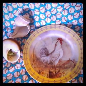 Country chicken plate. Decor only